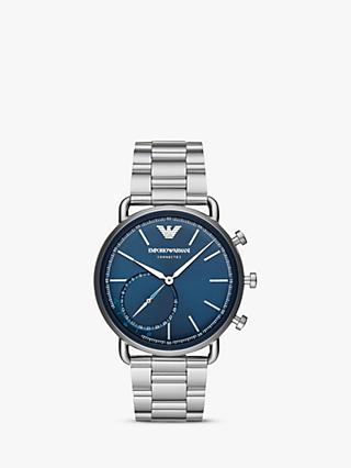 Emporio Armani Connected ART3028 Men's Aviator Hybrid Bracelet Strap Smartwatch, Silver/Blue