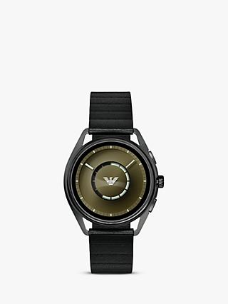 Emporio Armani Connected ART5009 Men's Touch Screen Leather Strap Smartwatch, Black/Green