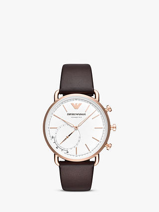 Buy Emporio Armani Connected ART3029 Men's Hybrid Leather Strap Smartwatch, Brown/White Online at johnlewis.com