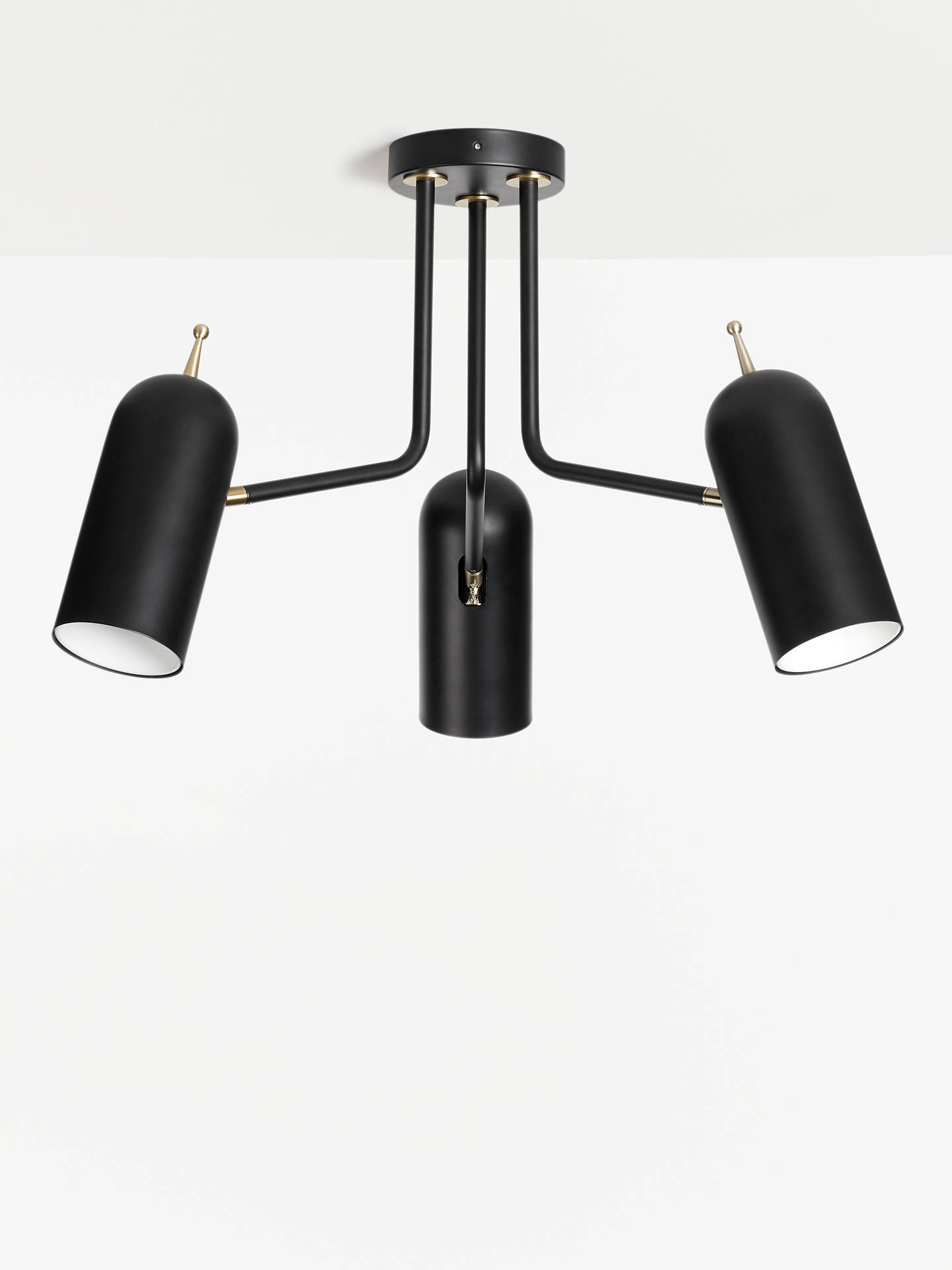 Buy Design Project by John Lewis No.045 Semi Flush 3 Arm Ceiling Light, Black Online at johnlewis.com