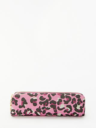 John Lewis & Partners Georgina Wash Bag, Pink Leopard