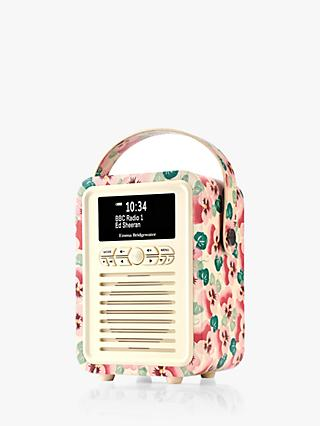VQ Retro Mini DAB/FM Bluetooth Digital Radio, Emma Bridgewater Patterns, Pink Pansy