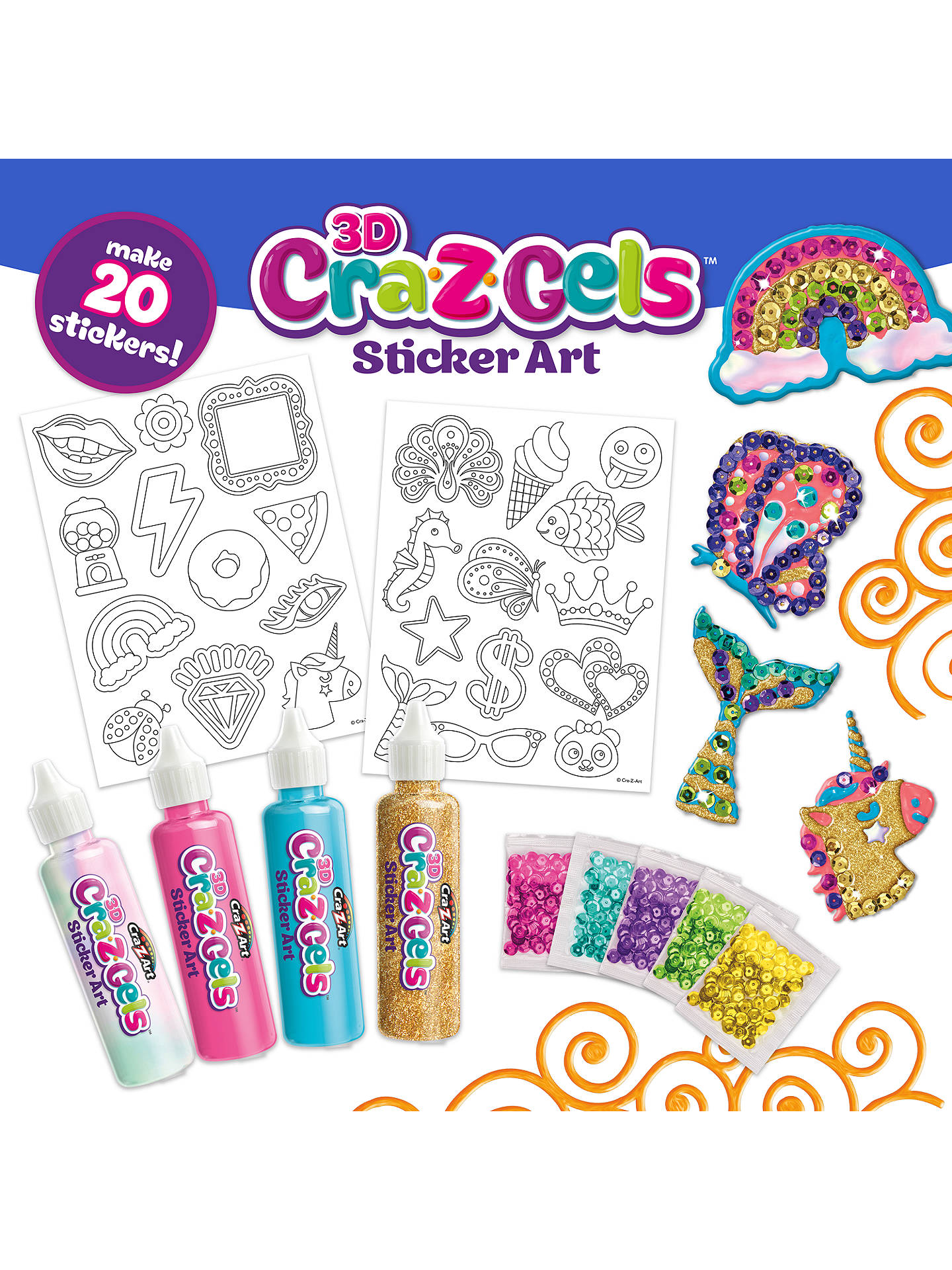 Cra Z Art Cra Z Gels Sticker Art Stylin Sequins Set At John Lewis Partners