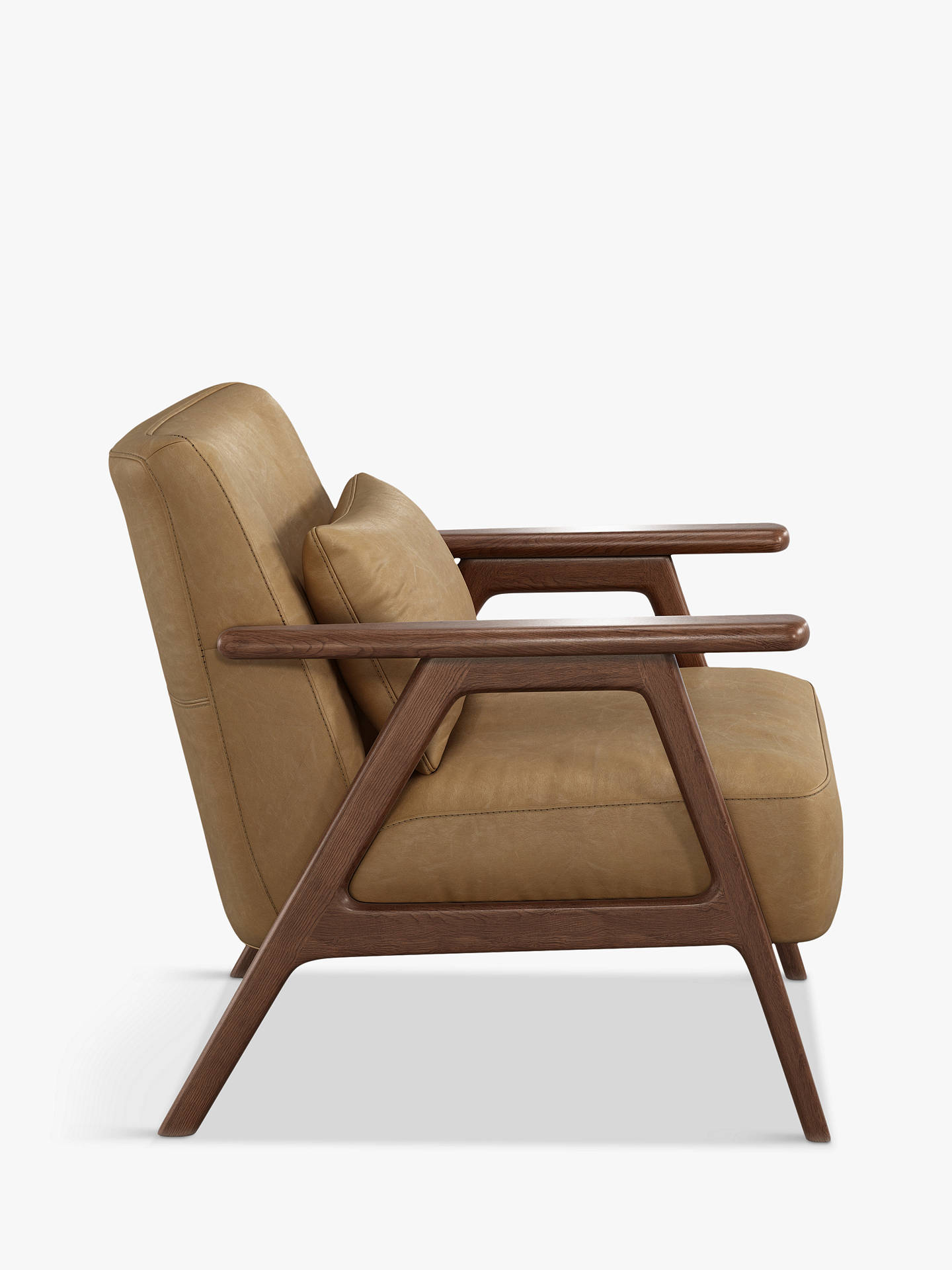 Buy John Lewis & Partners Hendricks Leather Accent Chair, Dark Wood Frame, Sellvagio Parchment Online at johnlewis.com