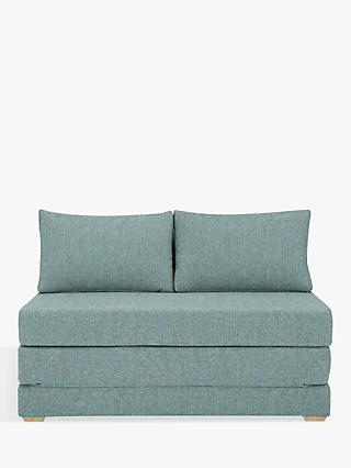 House by John Lewis Kip Small Double Sofa Bed, Light Leg, Riley Teal
