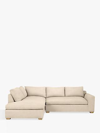 John Lewis & Partners Tortona LHF Chaise End Sofa, Light Leg, Maria Putty