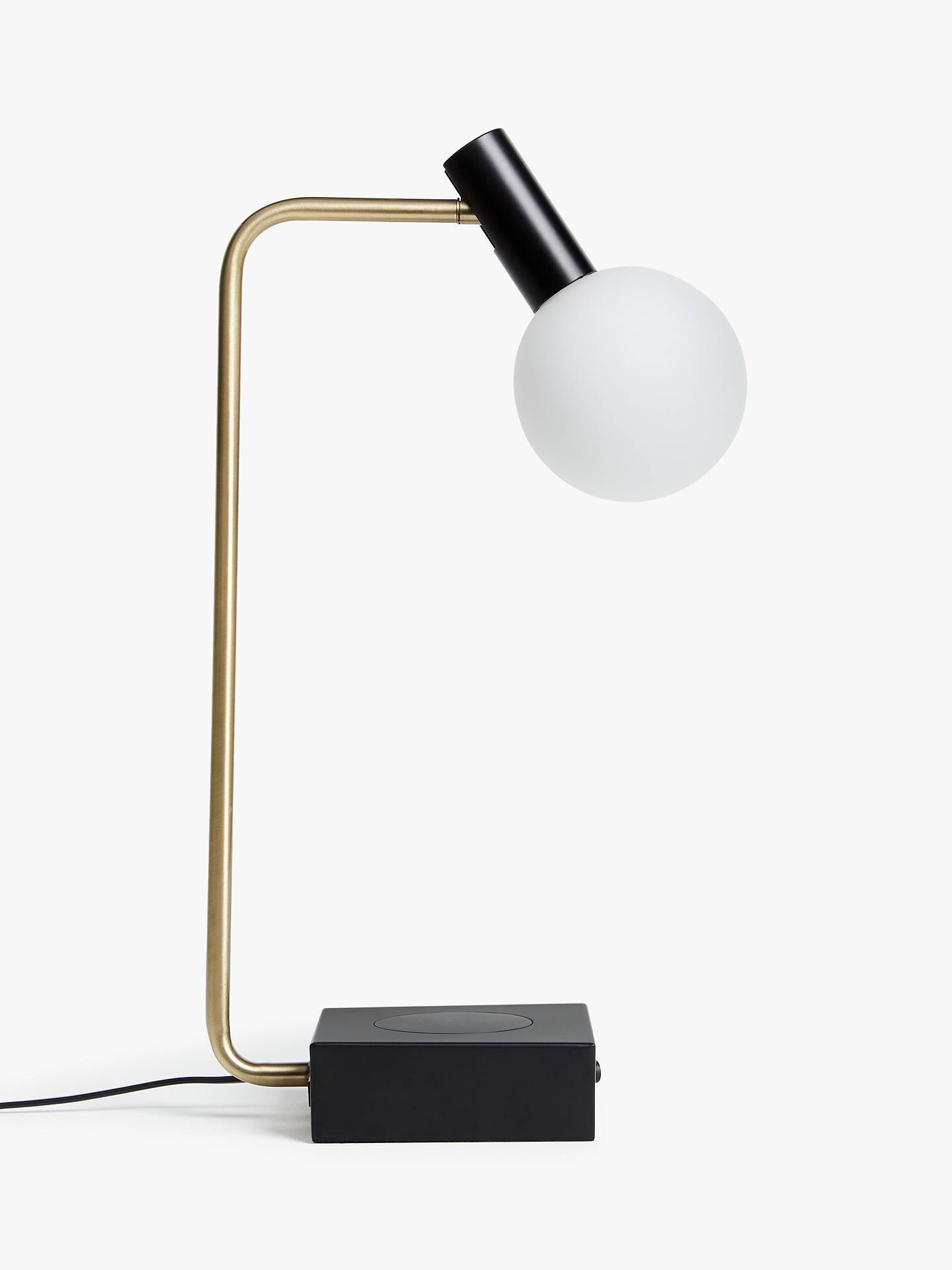 John Lewis Partners Spenser Led Wireless Charger Table Lamp Black Brass