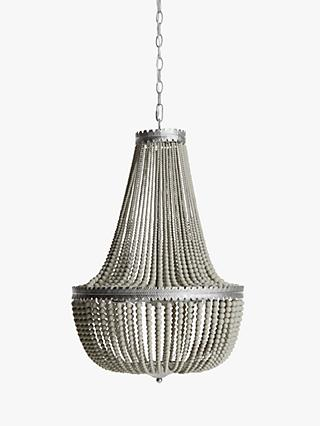 John Lewis & Partners Margeaux Beaded Chandelier Ceiling Light, Cream