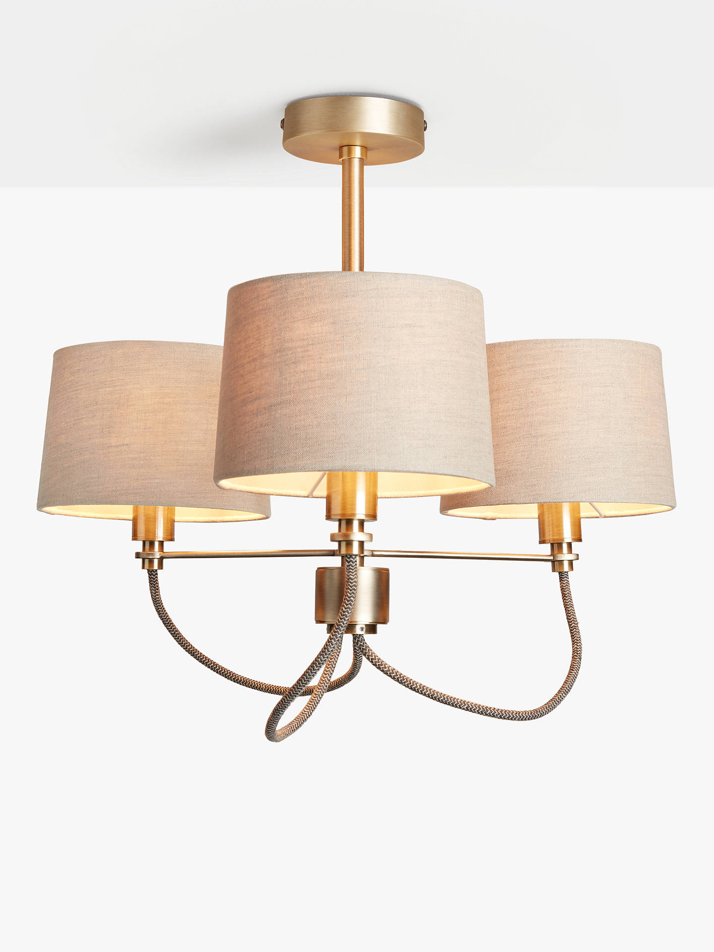 Buy John Lewis & Partners Rufus Semi-Flush Ceiling Light, Antique Brass Online at johnlewis.com
