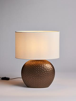 John Lewis & Partners Alexander Ceramic Table Lamp, Matt Pewter