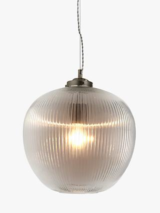 John Lewis & Partners Hazell Large Glass Ceiling Light, Pewter