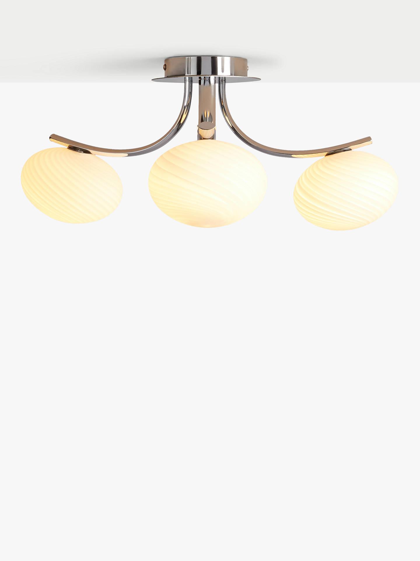 John Lewis Partners Rita Semi Flush 3 Arm Ceiling Light Chrome