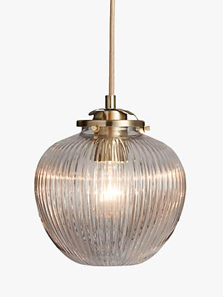 a627bb8a597f John Lewis & Partners Henry Small Glass Ceiling Light, Brass