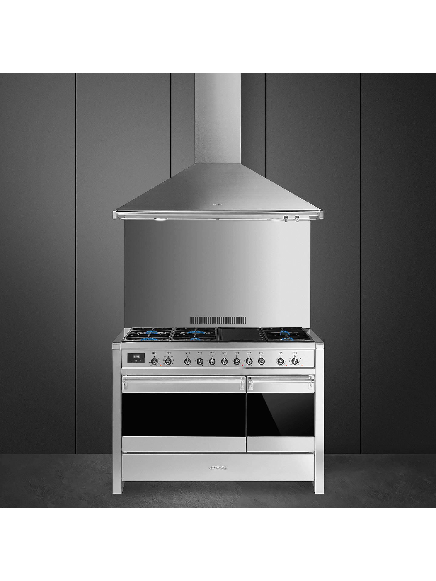 BuySmeg A3-81 Opera Dual Fuel Range Cooker, Stainless Steel Online at johnlewis.com