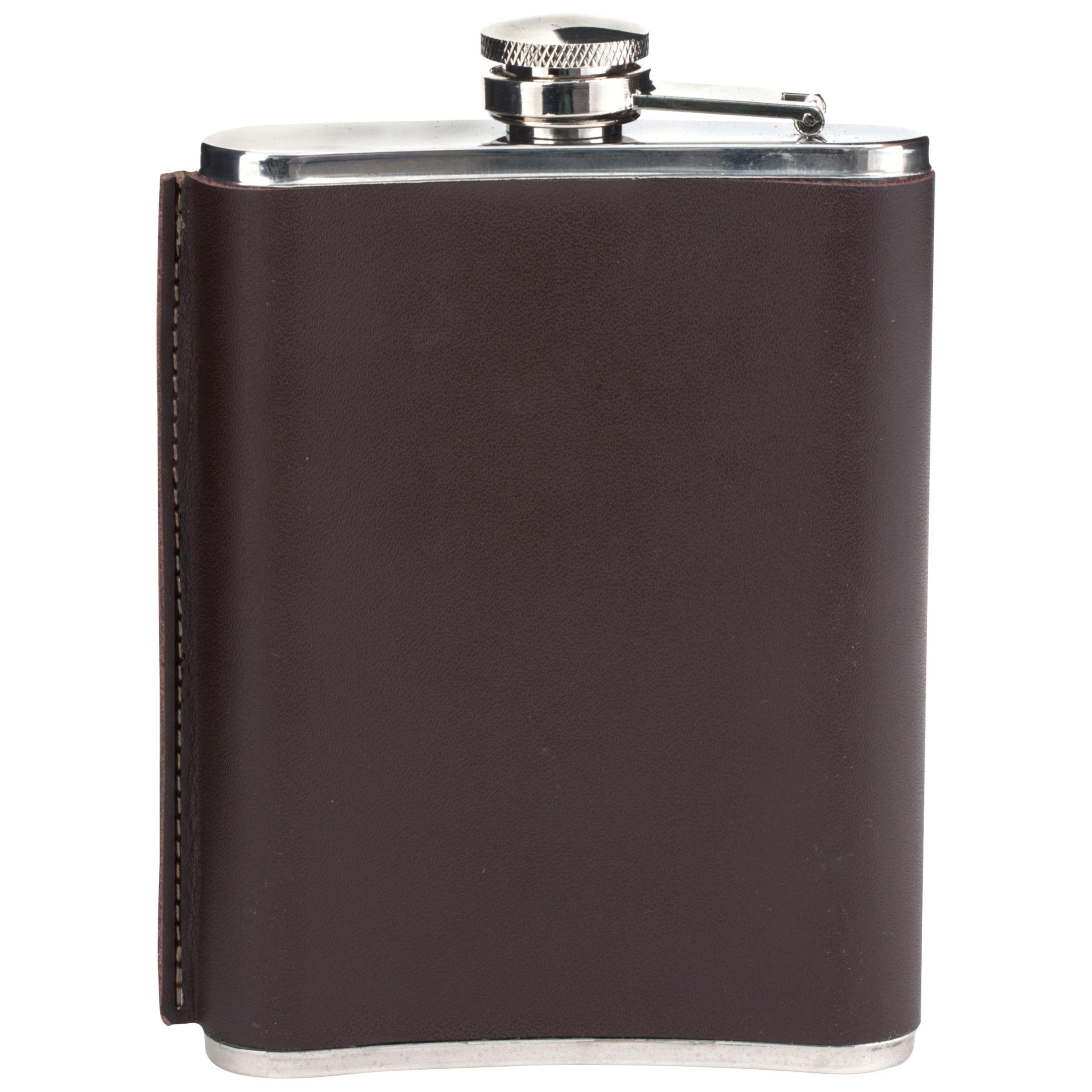Kikkerland Kikkerland Leather Hip Flask, 180ml