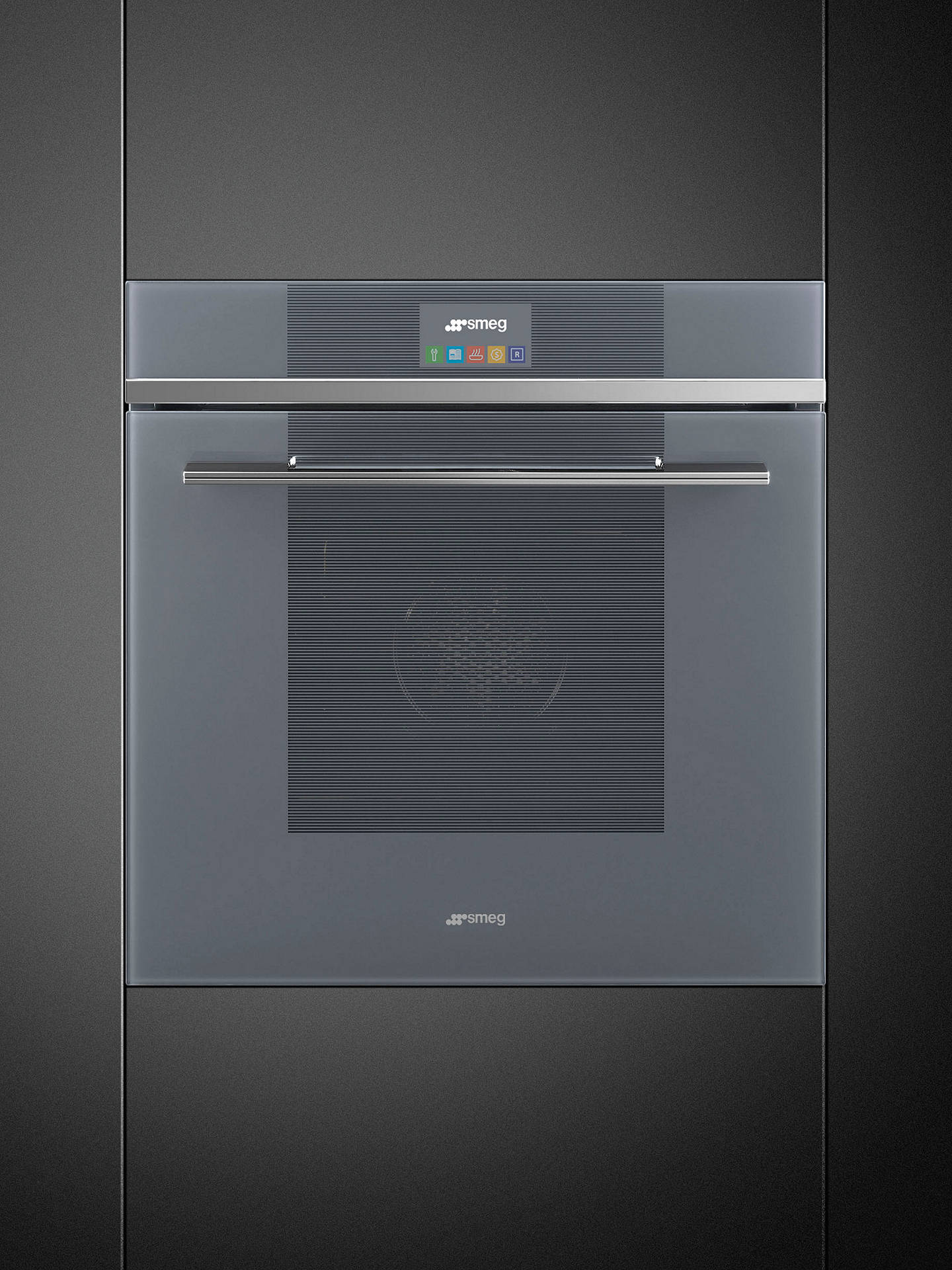 Buy Smeg SFP6104TVS Linea Built-In Pyrolytic Single Oven with LCD Touch Display, Silver Glass Online at johnlewis.com