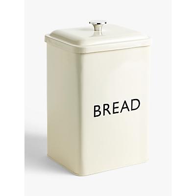 John Lewis & Partners Enamel Tall Bread Bin, Cream