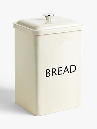 John Lewis & Partners Enamel Tall Bread Bin, Cream