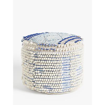 John Lewis & Partners Tufted Pouffe, Blue / Multi