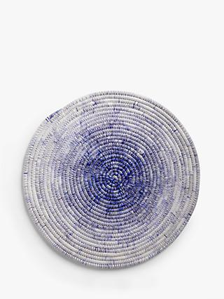 John Lewis & Partners Coastal Embroidered Round Ombre Placemat, Blue/White