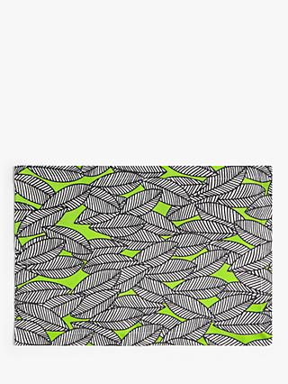John Lewis & Partners Graphic Leaf Placemats, Set of 2, Green/Multi
