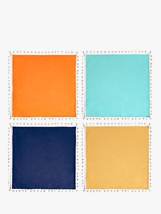 John Lewis & Partners Mexican Pom-Pom Napkins, Set of 4, Assorted