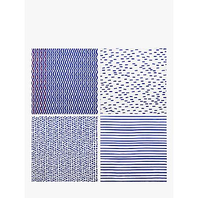 John Lewis & Partners Coastal Assorted Napkins, Set of 4, Blue/White