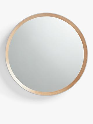 John Lewis & Partners Savina Wood Framed Round Mirror, Dia.75cm, Oak/Grey
