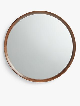 John Lewis & Partners Astrid Round Mirror, Walnut Wood, 70cm