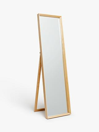John Lewis & Partners Avesta Cheval Freestanding Oak Mirror, 165 x 45cm, Natural