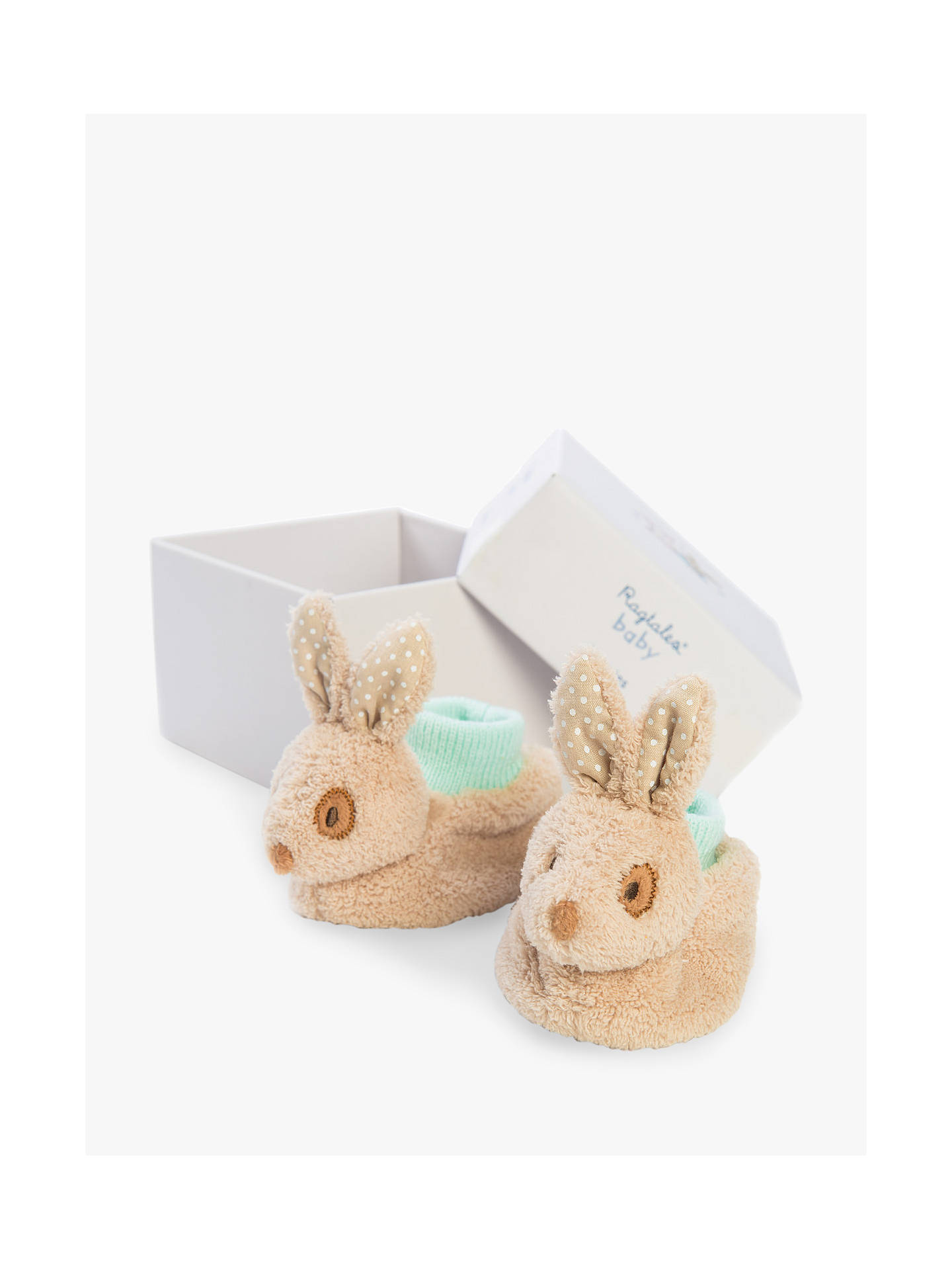 BuyRagtales Alfie Bunny Baby Booties, One Size, Brown Online at johnlewis.com