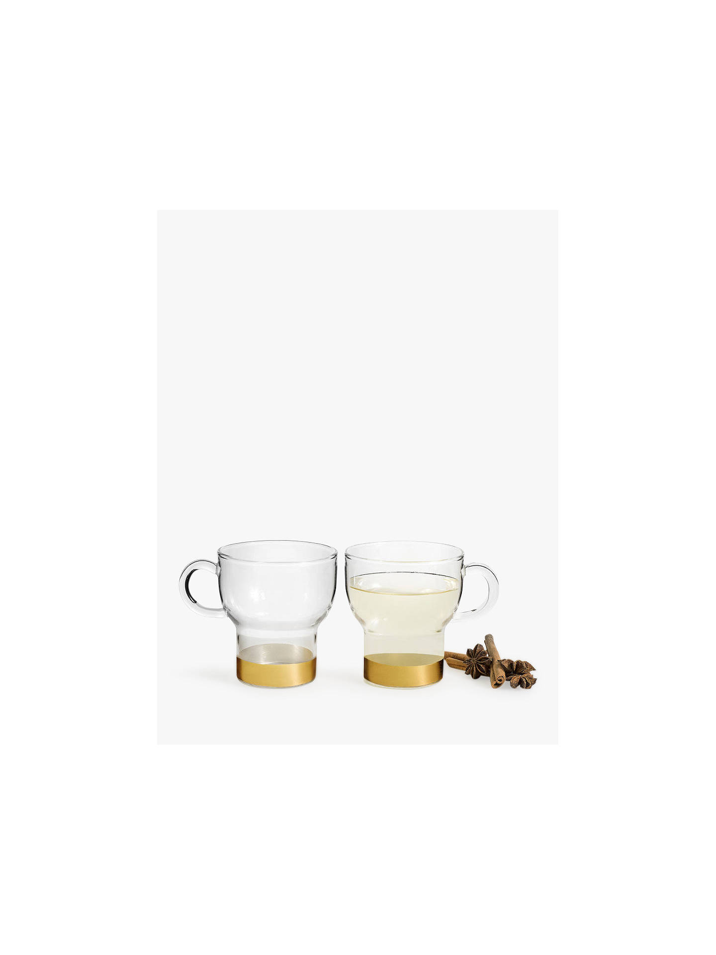 BuySagaform Mulled Wine Glass Mugs, Set of 2, 250ml, Clear/Gold Online at johnlewis.com