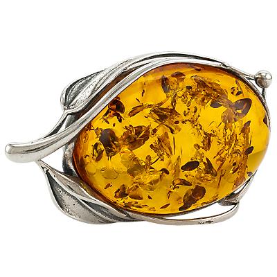 Be-Jewelled Leaf Baltic Amber Brooch, Cognac