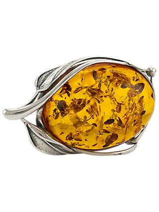Be-Jewelled Leaf Baltic Amber Brooch, Cognac