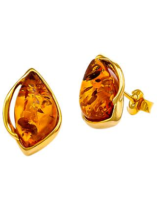 Be Jewelled Marquise Cut Amber Stud Earrings Gold Cognac