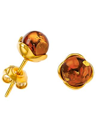 Be-Jewelled Round Amber Stud Earrings, Gold/Cognac