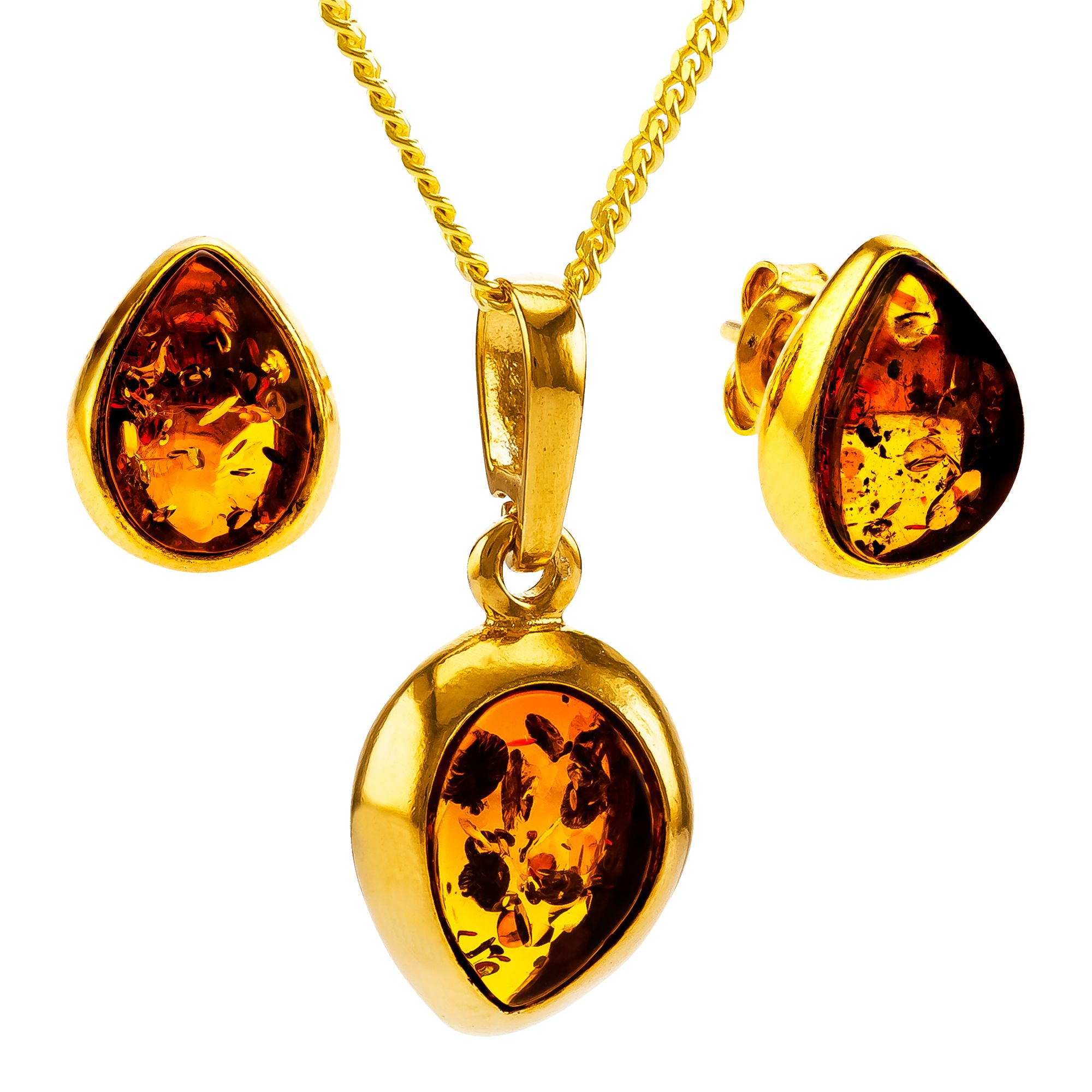Be-Jewelled Be-Jewelled Teardrop Stud Earrings and Pendant Necklace Jewellery Set, Gold/Cognac