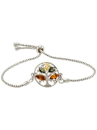 Be-Jewelled Tree Charm Baltic Amber Adjustable Bracelet, Multi