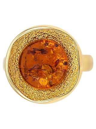 Be-Jewelled Round Amber Cocktail Ring, Gold/Cognac