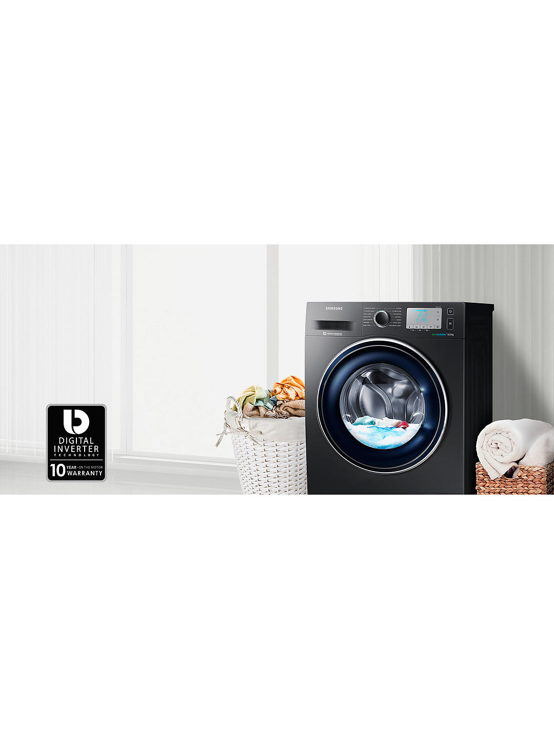 Buy Samsung WW90J5456FC ecobubble™  Freestanding Washing Machine, 9kg Load, A+++ Energy Rating, 1400rpm Spin, Grey Online at johnlewis.com