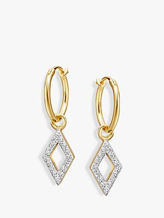 Missoma Diamond Charm Hoop Earrings, Gold