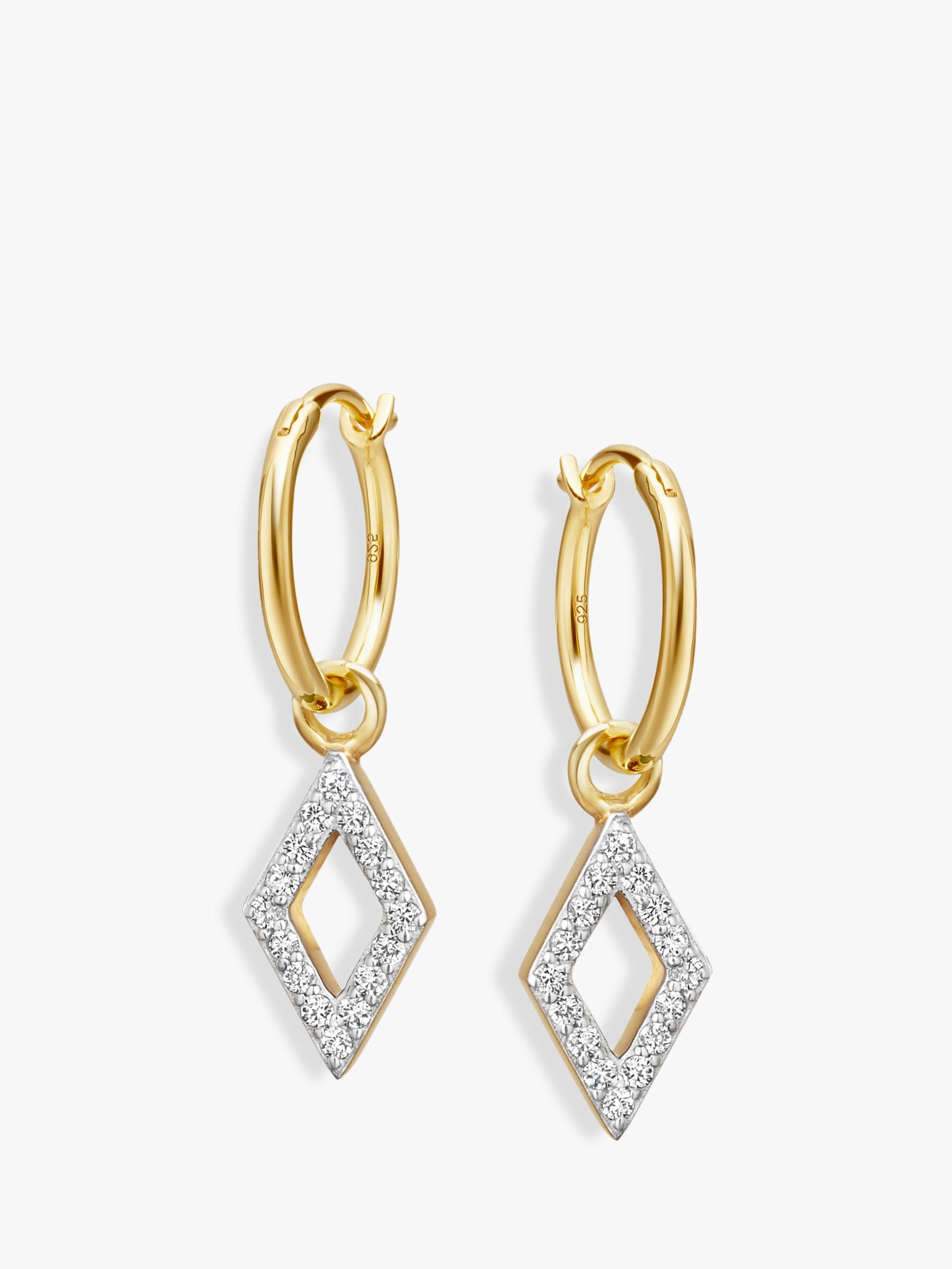 Missoma Missoma Diamond Charm Hoop Earrings, Gold