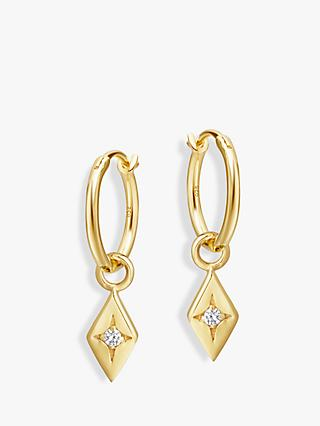 Missoma Diamond Charm Solitaire Crystal Hoop Earrings, Gold