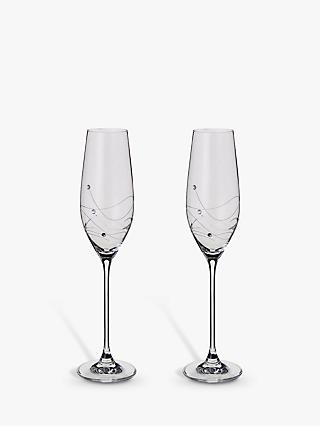 Dartington Crystal Glitz Champagne Flutes, 210ml, Set of 2