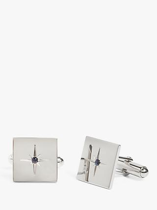 Simon Carter for John Lewis Square Sterling Silver Sapphire Cufflinks, Silver