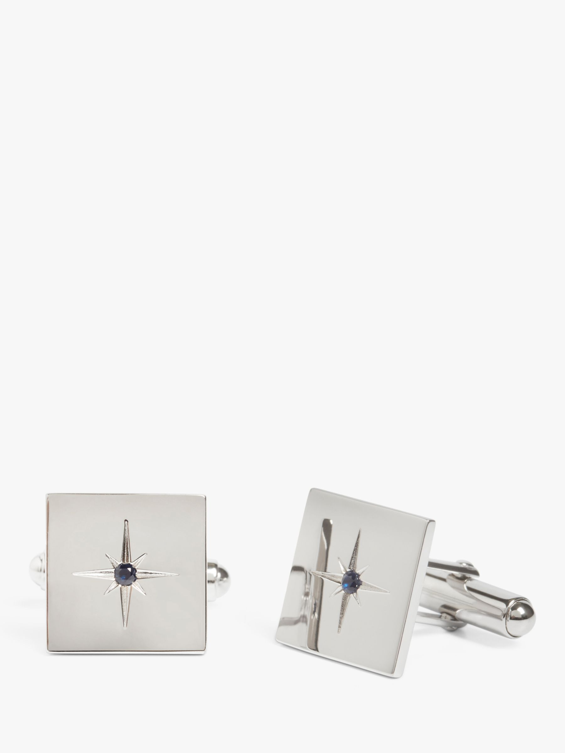 Simon Carter Simon Carter for John Lewis Square Sterling Silver Sapphire Cufflinks, Silver