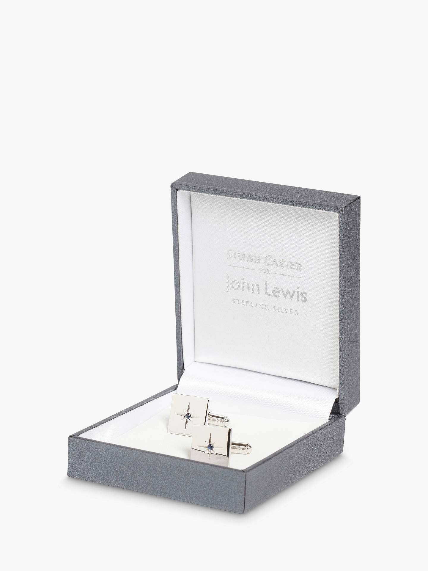 BuySimon Carter for John Lewis Square Sterling Silver Sapphire Cufflinks, Silver Online at johnlewis.com