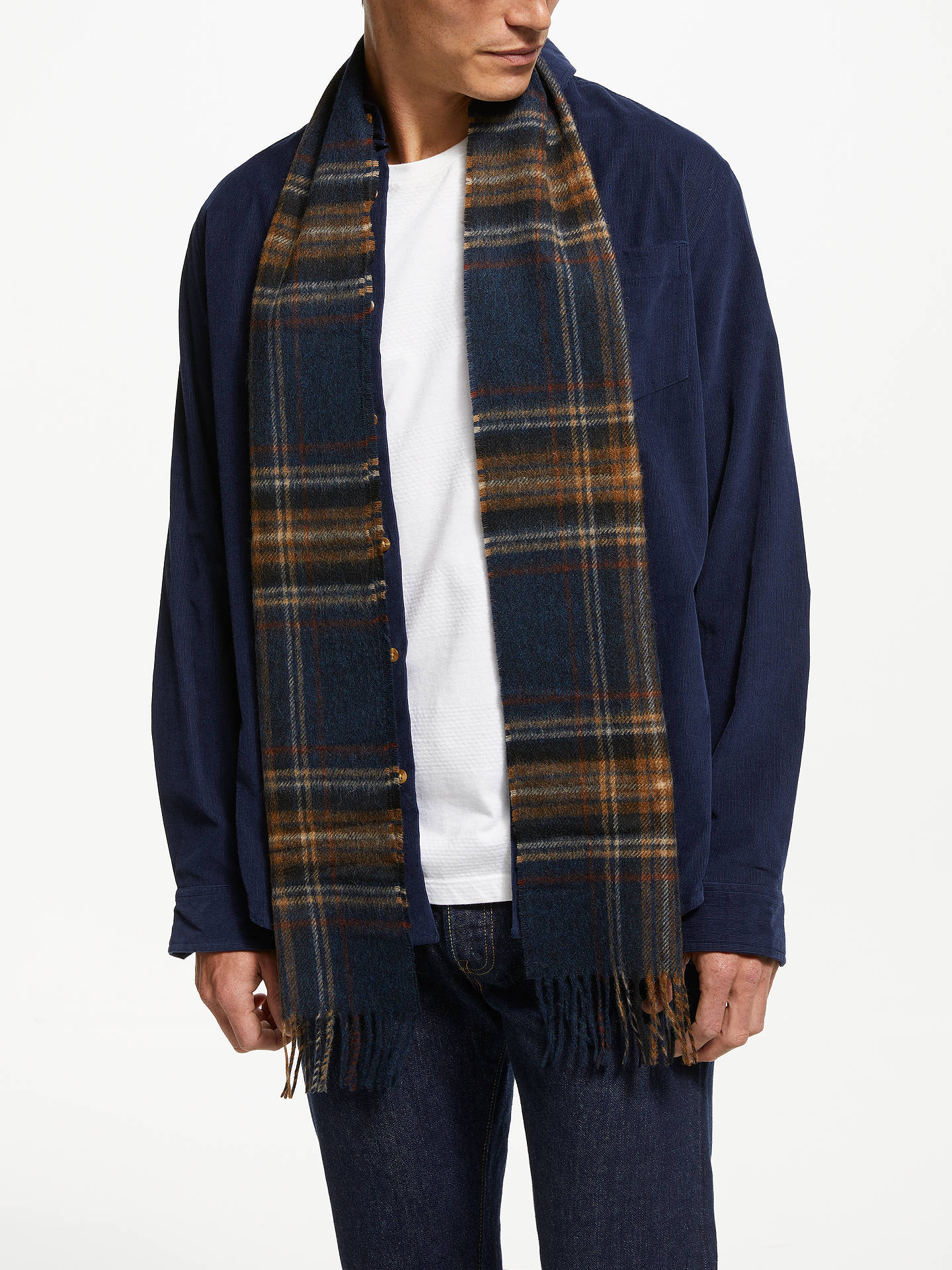 Buy Barbour Elwood Tartan Lambswool Scarf, Blue Online at johnlewis.com
