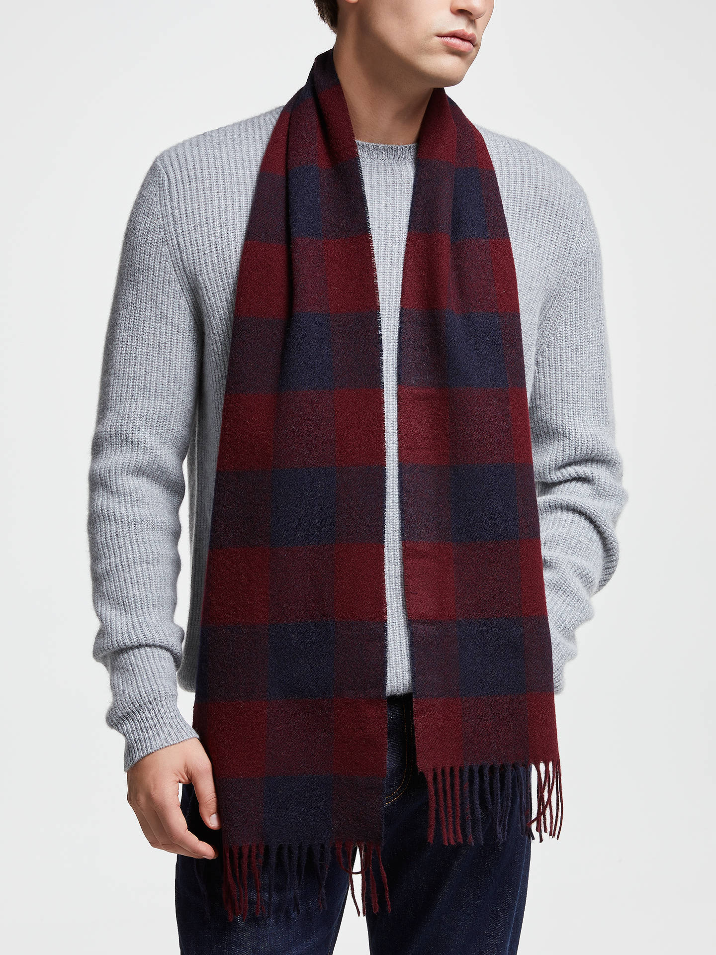 Buy Barbour Moons Lambswool Check Scarf, Red/Navy Online at johnlewis.com