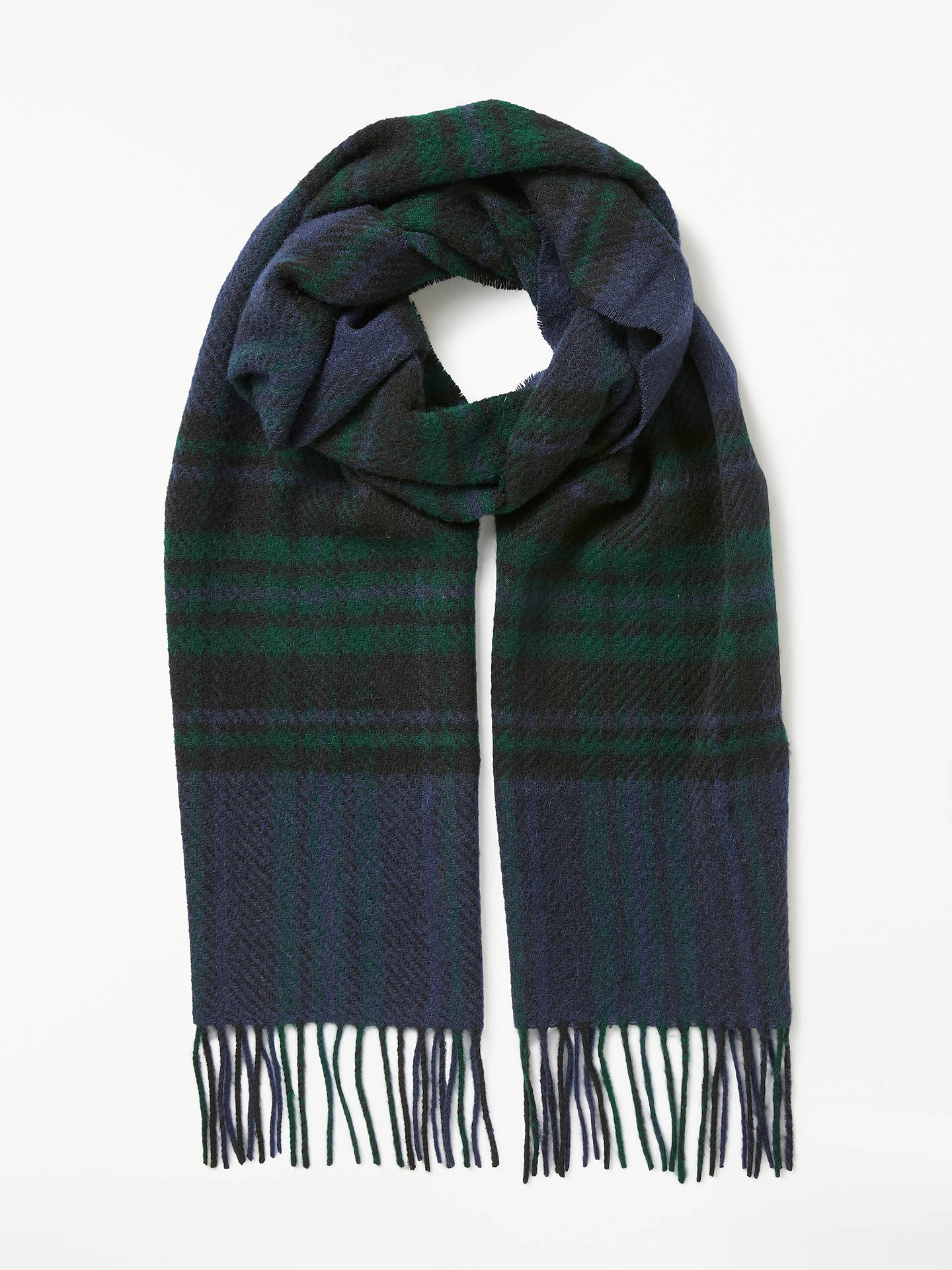 BuyBarbour Moons Lowerfell Lambswool Check Scarf, Navy/Green Online at johnlewis.com